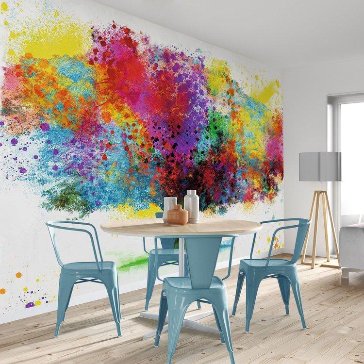 Boom in bonte kleuren Fleurig - Natuur - Kunst - Kleurrijk - Fotobehang 384 x 260 cm Vlies