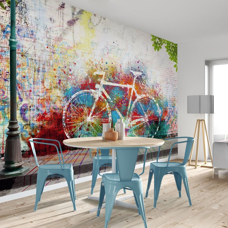 Streetart graffiti Kunst - Kleurrijk - Fiets - Urban  - Fotobehang 384 x 260 cm Vlies