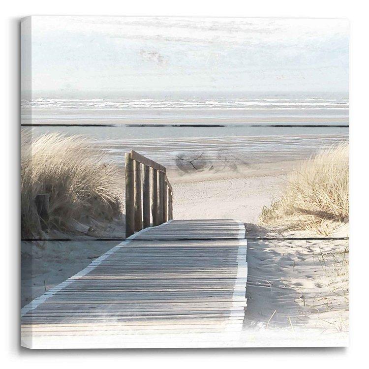 Noordzee Strand - Duinen - Zee - Schilderij Deco Block 30 x 30 cm