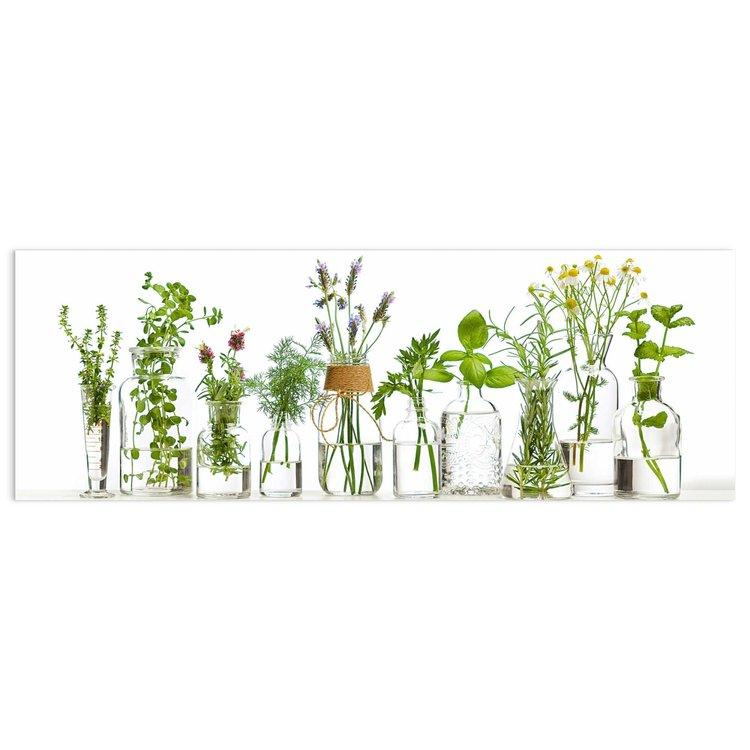 Verse keukenkruiden in glas - Glasschilderij 95 x 33 cm