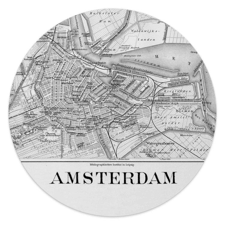 Oude kaart van Amsterdam - Glasschilderij rond 30 x 30 cm