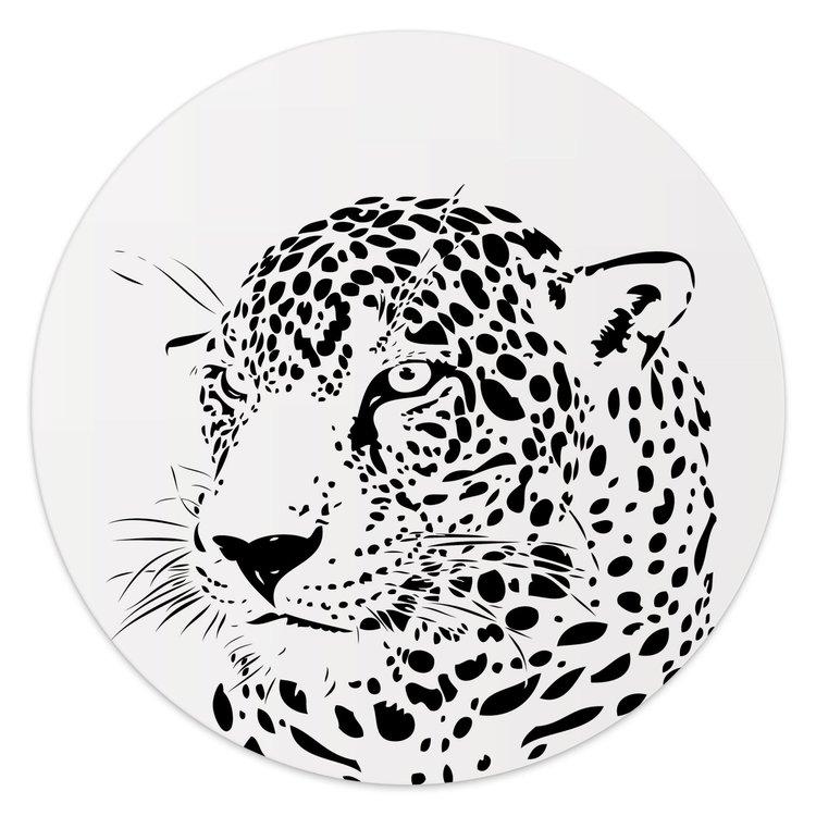 Luipaard - Glasschilderij rond 30 x 30 cm
