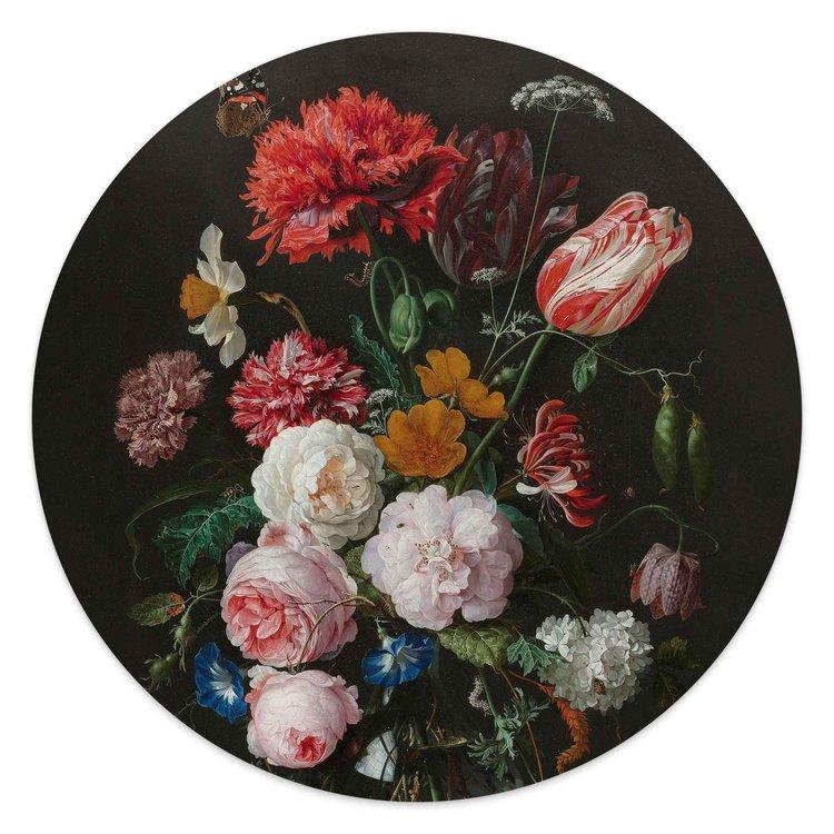 Jan Davidsz de Heem Stilleven met bloemen - Glasschilderij rond 30 x 30 cm