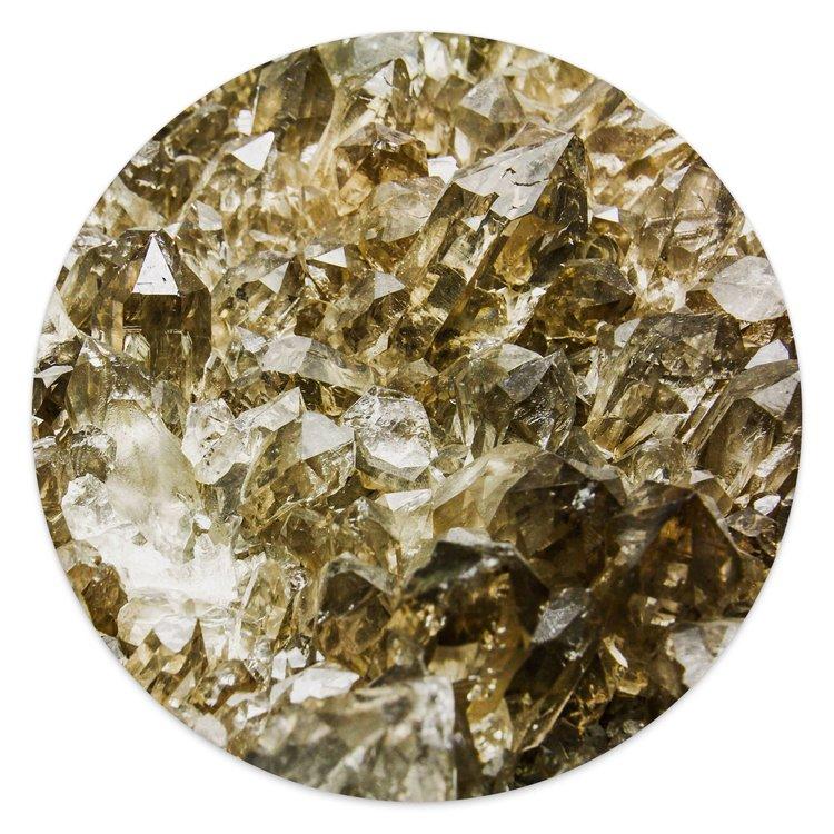 Edelsteen goud - Glasschilderij rond 30 x 30 cm