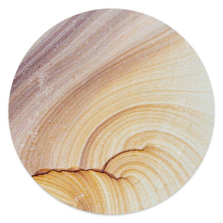 Edelsteen zandkleur - Glasschilderij rond 30 x 30 cm