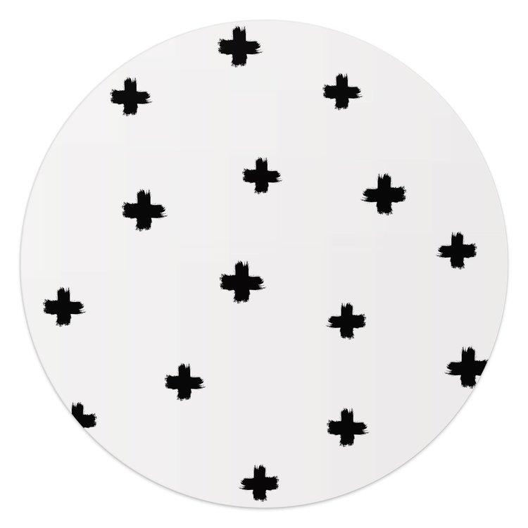 Zwarte kruisjes - Glasschilderij rond 50 x 50 cm