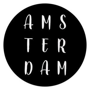 Glasschilderij rond Amsterdam Typo