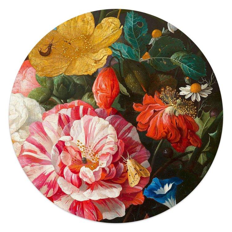 Jan Davidsz de Heem Stilleven met bloemen - Glasschilderij rond 50 x 50 cm