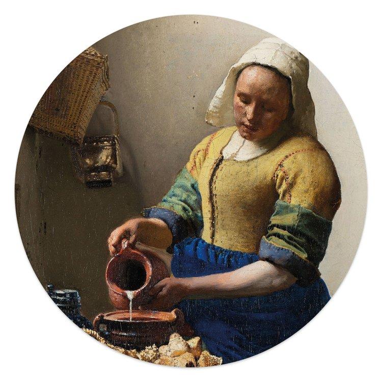 Johannes Vermeer Het melkmeisje - Glasschilderij rond