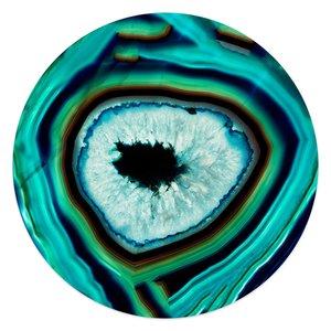 Glasschilderij rond Edelsteen turquoise