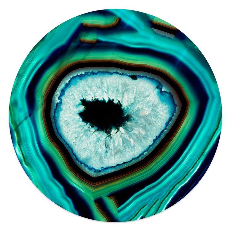 Edelsteen turquoise - Glasschilderij rond 50 x 50 cm