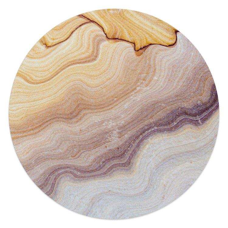 Edelsteen oranje - Glasschilderij rond 50 x 50 cm