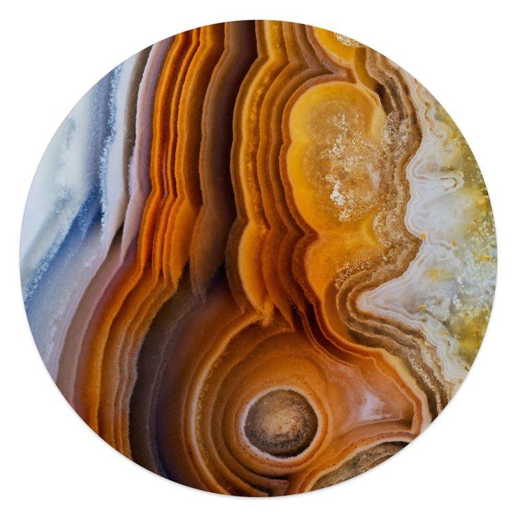 Edelsteen bruin - Glasschilderij rond 50 x 50 cm