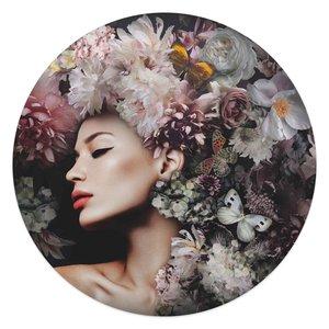 Glasschilderij rond Vrouw met bloemenhoed