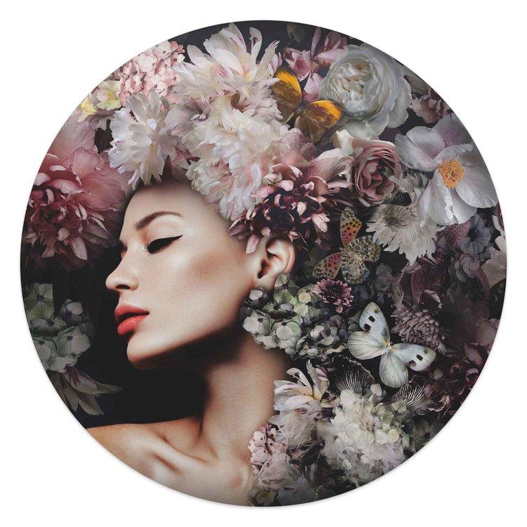 Vrouw met bloemenhoed  Vrouw - Vlinder - Boeket - Romantisch  - Glasschilderij rond Glas