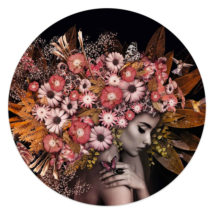 Bloemenrijkdom Vrouw - Vlinder - Boeket - Romantisch  - Glasschilderij rond Glas