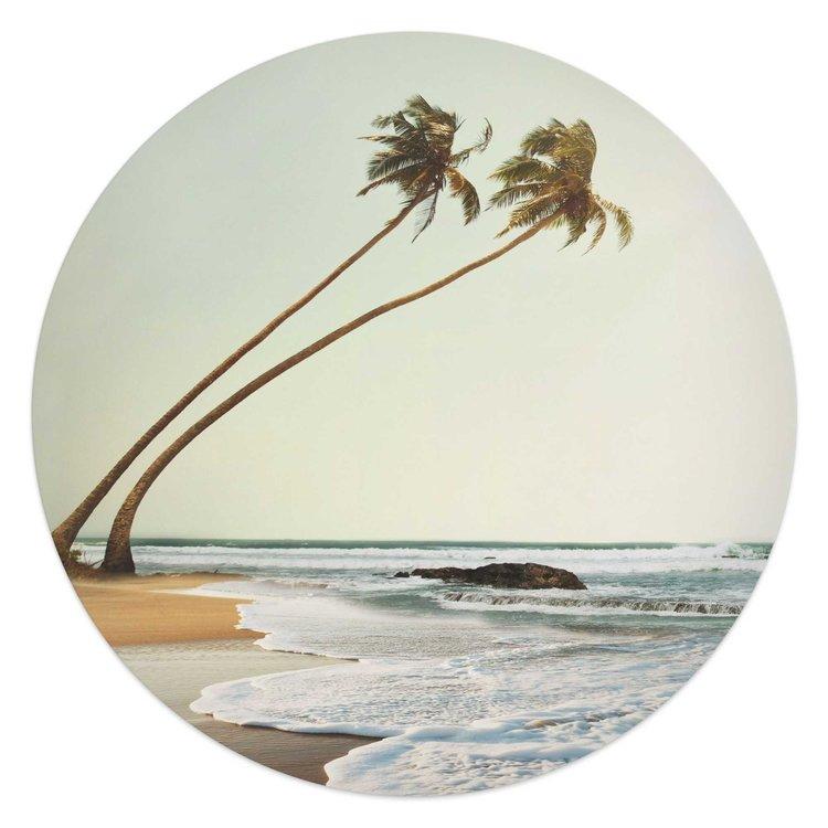 Wuivende Palmen  Sri Lanka - Strand - Zee - Golven  - Glasschilderij rond Glas