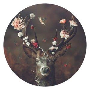 Glasschilderij rond Hert
