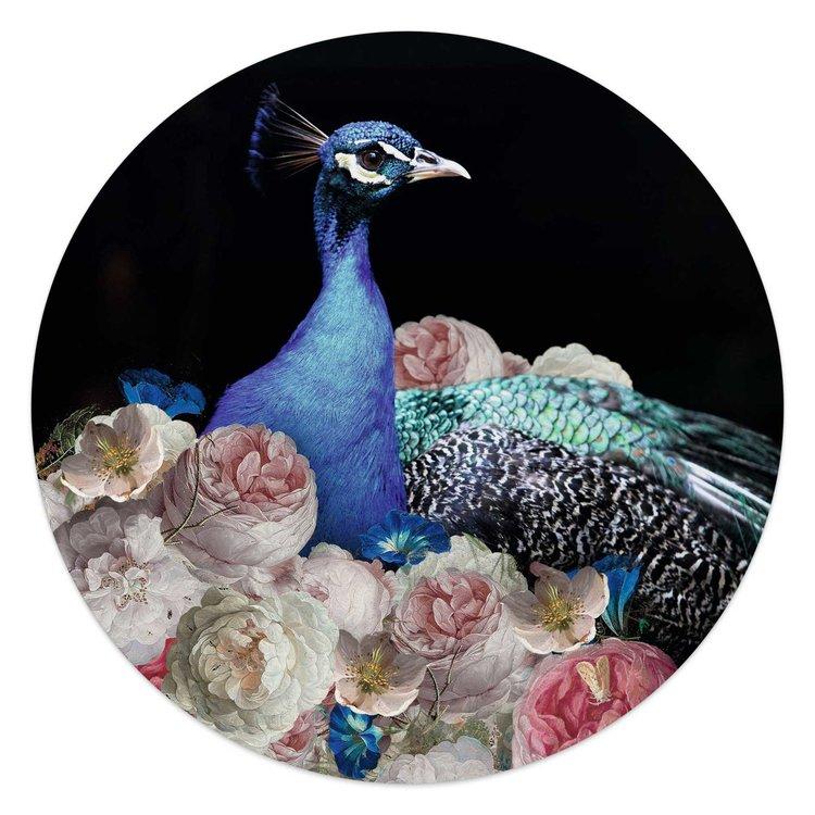 Pauw Bloemen - Vogel - Boeket - Kunst - Glasschilderij rond Glas