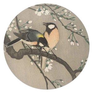 Glasschilderij rond Koolmezen op bloesemtak