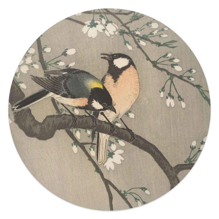 Koolmezen op bloesemtak Vogel - Bloem - Ohara Koson - Rijksmuseum - Glasschilderij rond Glas