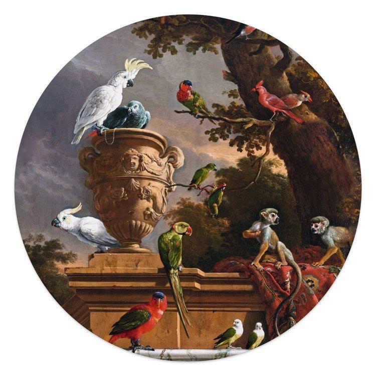 Melchior d´Hondecoeter - Rijksmuseum - Oude Meester - exotische vogels  - Glasschilderij rond Glas