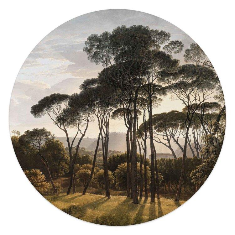 Italiaans Landschap Oude Meester - Hendrik Voogd - Villa Borghese - Rome  - Glasschilderij rond Glas