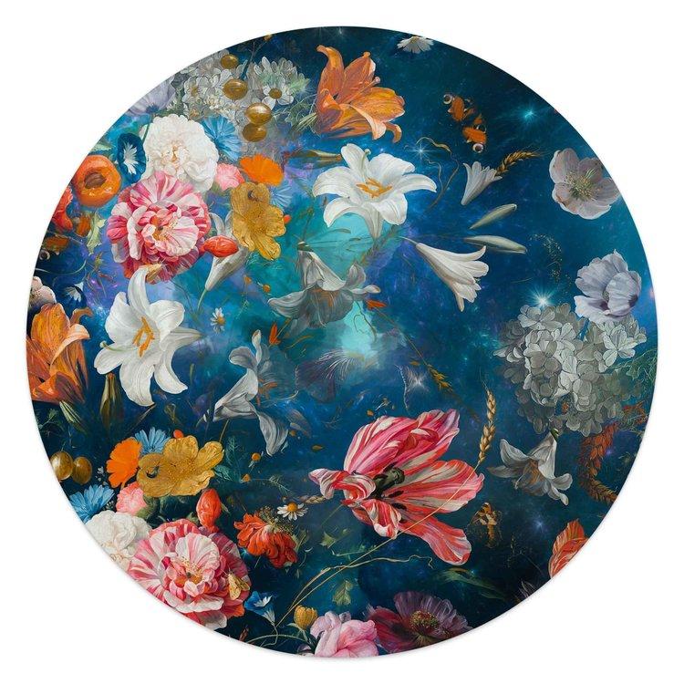 Bloemenwereld Kleurrijk - Bloemen - Planten - Glasschilderij rond Glas