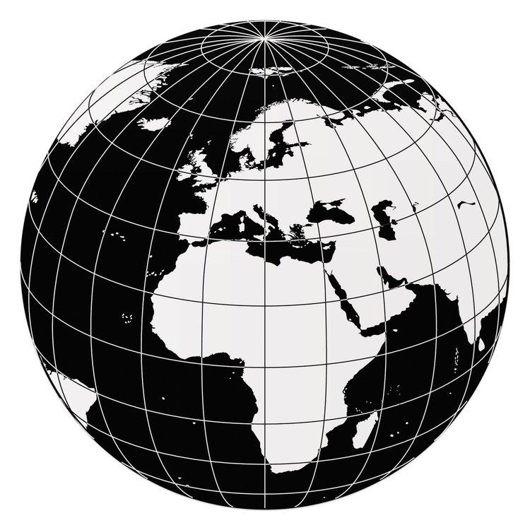 Geometrische wereldbol - Glasschilderij rond 70 x 70 cm