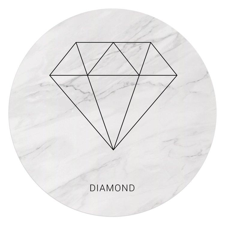 Kubistische diamant - Glasschilderij rond 70 x 70 cm