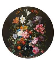 Jan Davidsz de Heem Stilleven met bloemen - Glasschilderij rond 70 x 70 cm