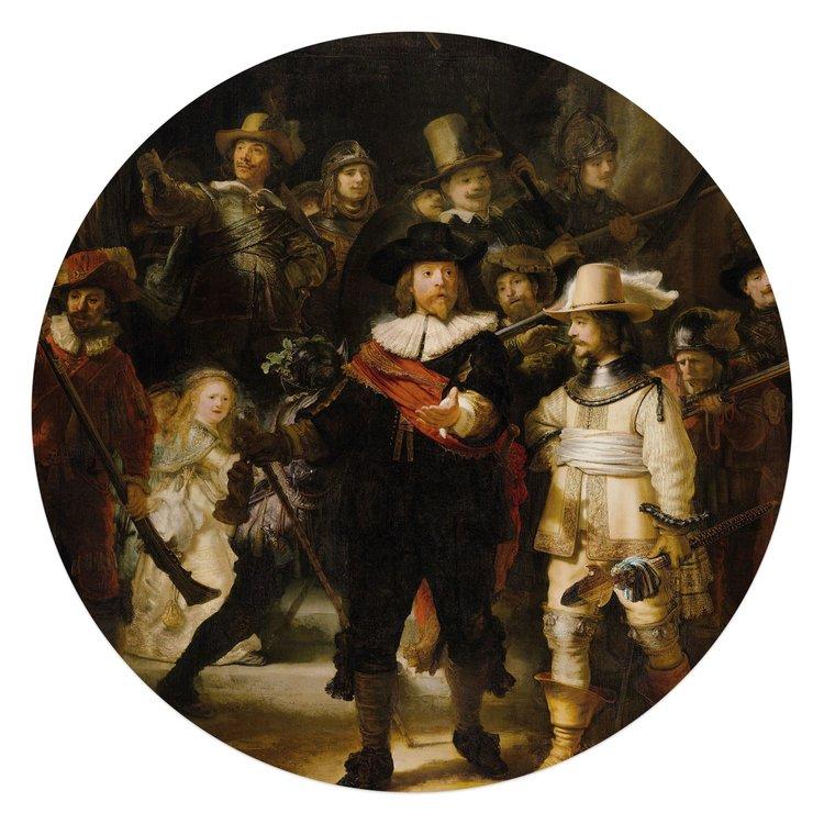Rembrandt van Rijn De Nachtwacht - Glasschilderij rond 70 x 70 cm