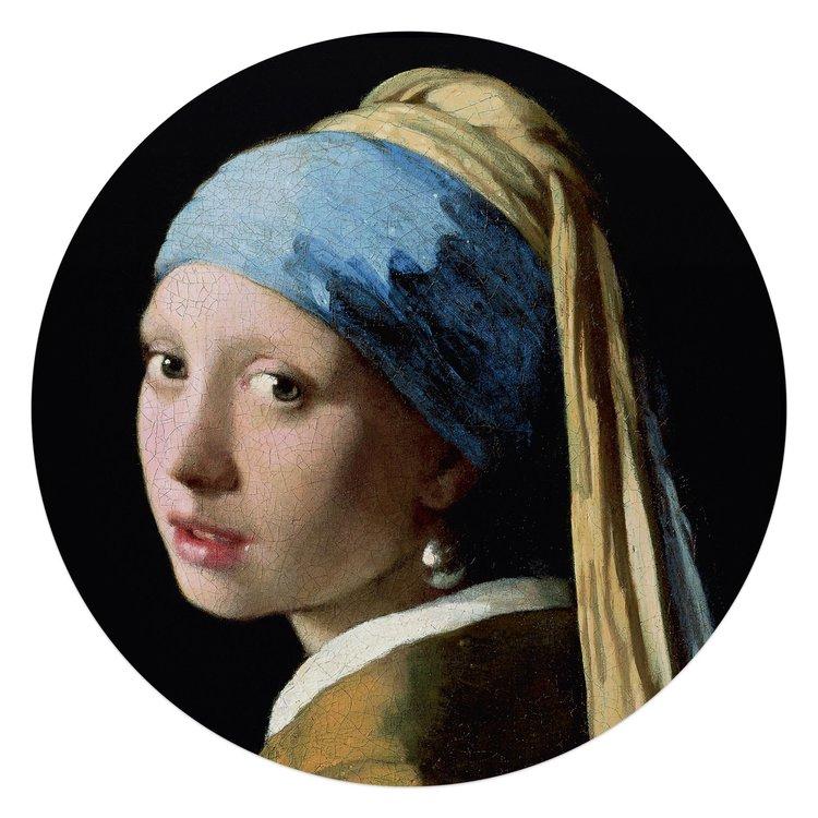 Johannes Vermeer Meisje met de parel - Glasschilderij rond 70 x 70 cm