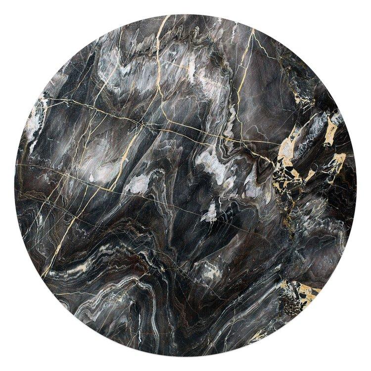 Edelsteen zwart - Glasschilderij rond 70 x 70 cm