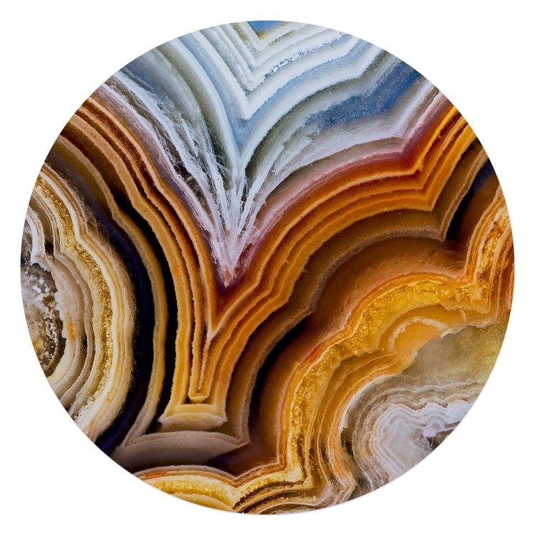 Edelsteen oranje - Glasschilderij rond 70 x 70 cm