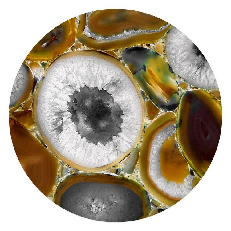 Edelsteen bruin - Glasschilderij rond 70 x 70 cm