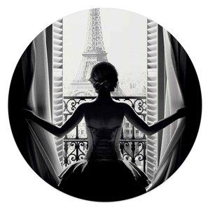 Glasschilderij rond Vrouw in Parijs