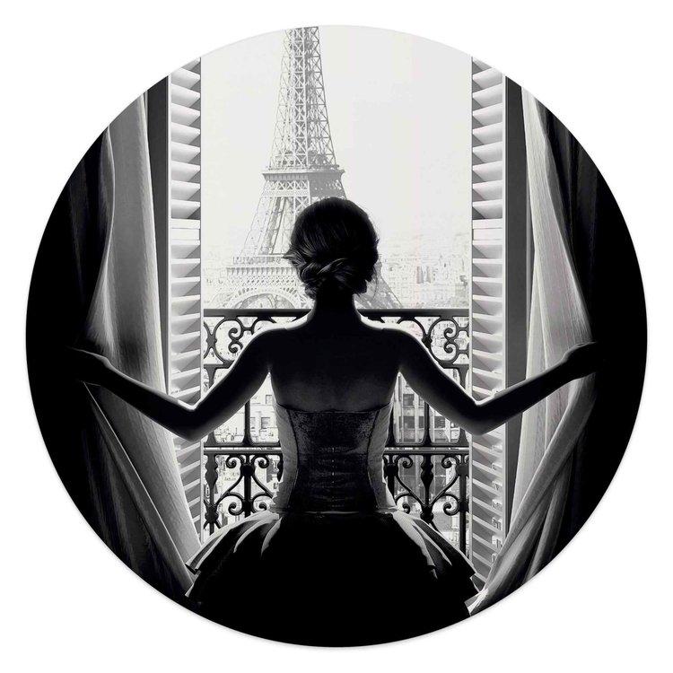 Vrouw in Parijs Eiffeltoren - Stad van de liefde - Uitzicht - Glasschilderij rond Glas