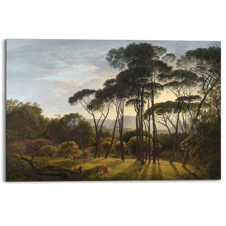 Italiaans Landschap Oude Meester - Hendrik Voogd - Villa Borghese - Rome  - Schilderij Deco Panel 90 x 60 cm MDF