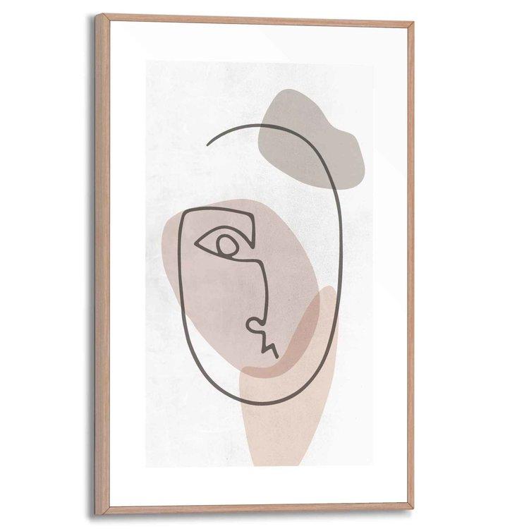 Gezicht Pentekening - Abstract  - Schilderij Slim Frame 20 x 30 cm MDF