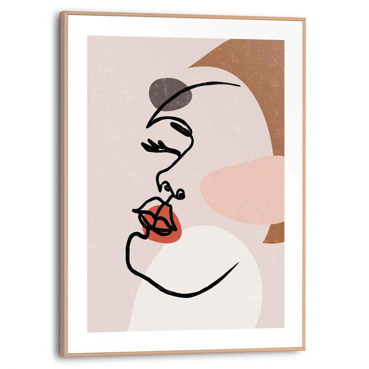 Vrouwengezicht Abstract - Penttekening  - Schilderij Slim Frame 30 x 40 cm MDF