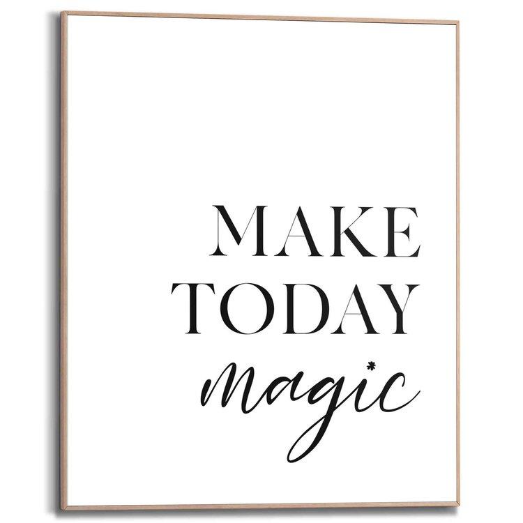 Een magische dag Engelse tekts - Quote - Positiviteit  - Schilderij Slim Frame 40 x 50 cm MDF