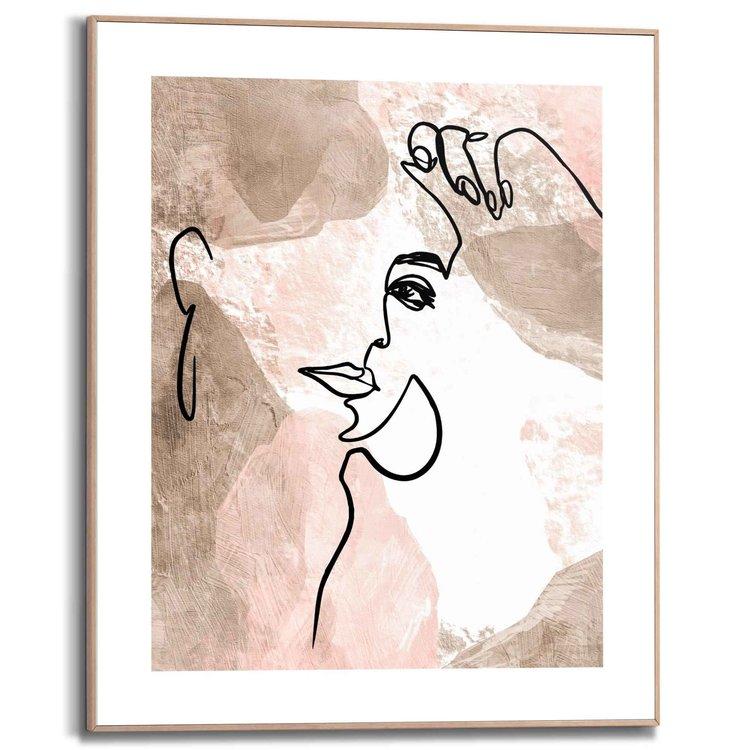 Vrouwengezicht Abstract - Penttekening  - Schilderij Slim Frame 40 x 50 cm MDF