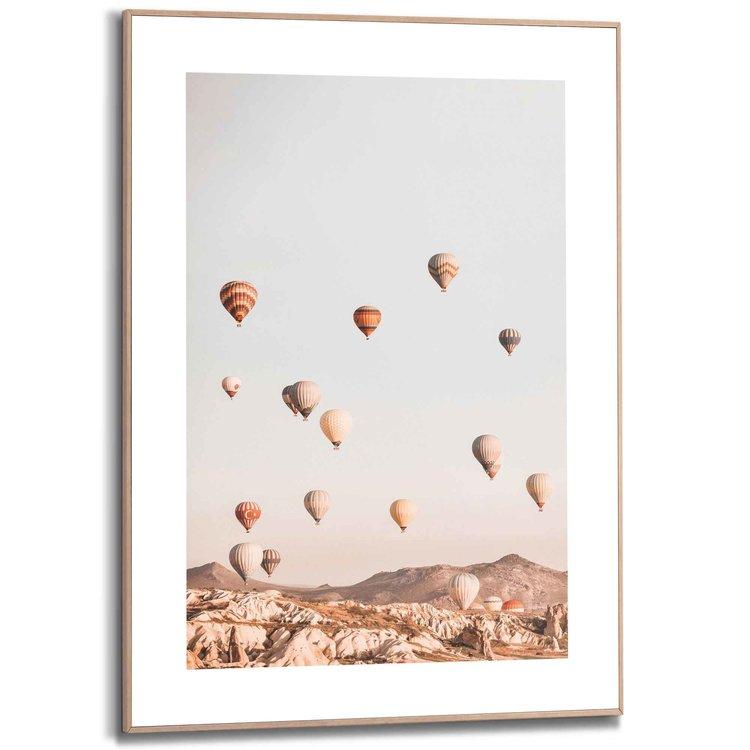Luchtballon Cappadocië - Ballonvaart -  Vrijheid  - Schilderij Slim Frame 50 x 70 cm MDF