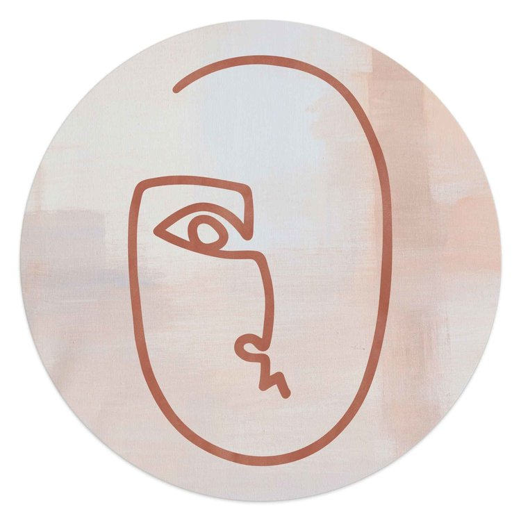 Gezicht Pentekening - Abstract  - Schilderij Round Art 50 x 50 cm MDF
