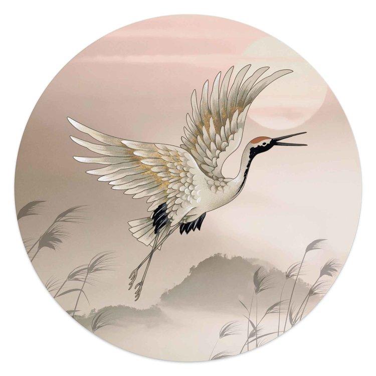 Kraanvogel Japan - Kunst  - Schilderij Round Art 50 x 50 cm MDF