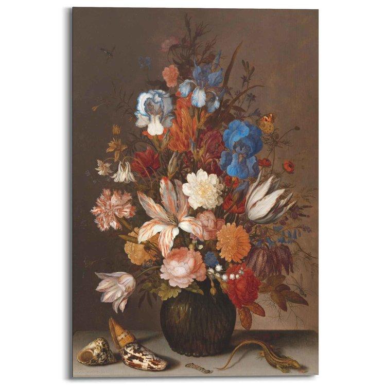 Stilleven Nederlandse Kunstschilder - Oude Meester - Bloemen - Boeket - Schilderij Deco Panel 60 x 90 cm MDF