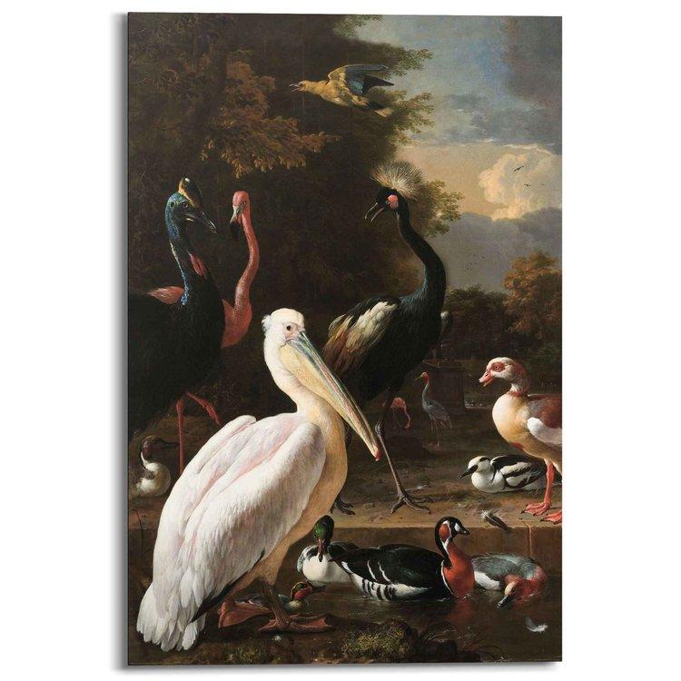 Melchior d'Hondecoeter Hollandse Meester - Het drijvend veertje - Vogels - Waterbassin - Stilleven - Schilderij Deco Panel 60 x 90 cm MDF