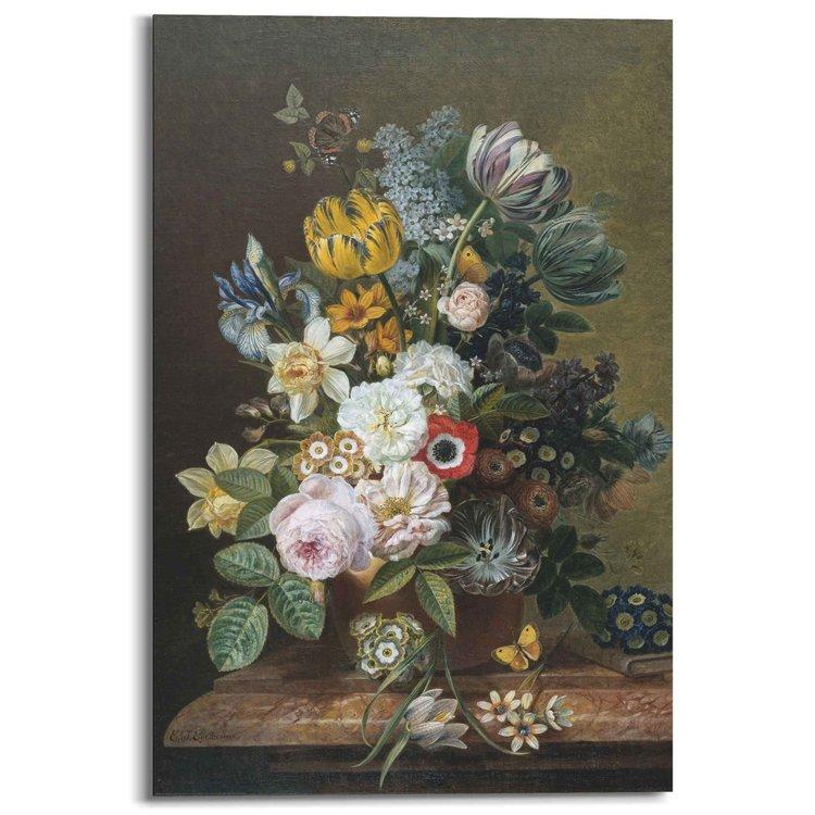Stilleven met bloemen Rijksmuseum - Oude Meester - Bloemen - Vlinder  - Schilderij Deco Panel 60 x 90 cm MDF