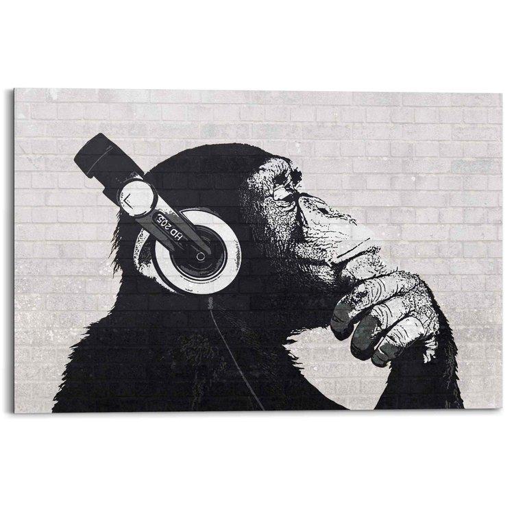 Aap met koptelefoon Chimpansee - Muziek - Zwart wit - Schilderij Deco Panel 90 x 60 cm MDF